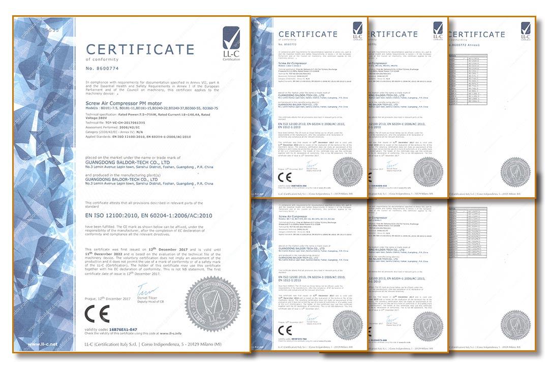 葆德通过欧盟CE认证-部分产品